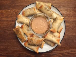 Baked Egg Rolls with Peanut Dipping Sauce