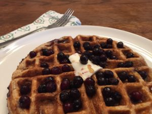 Wild Blueberry Oatmeal Waffles