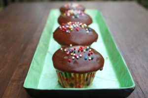 Vanilla Mini-Cupcakes with Tangy Chocolate Glaze